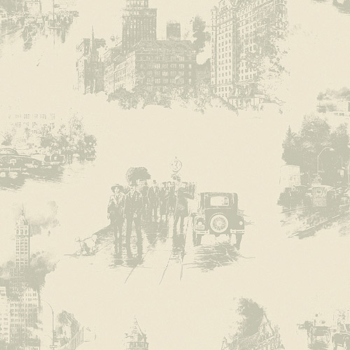 Blue Mountain City Toile Wallcovering