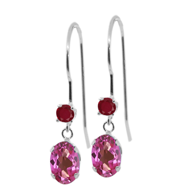 1.34 Ct Oval Pink Mystic Topaz Red Ruby 14K White Gold Earrings