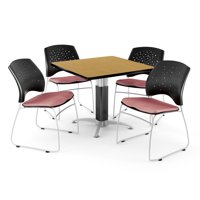 """OFM Core Collection Breakroom Bundle, 36"""" Square Metal Mesh Base Multi-purpose Table in Cherry, 4 Stars Stacking Chairs in Shamrock Green (PKG-BRK-017-0001)"""