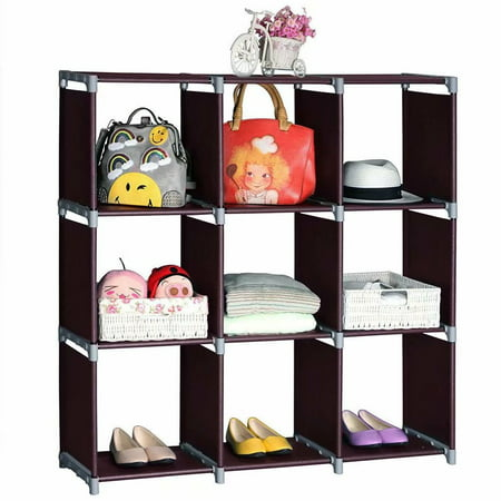 Cube Storage 9-Cube Closet Organizer Cube Organizer Storage Shelves Bookcase Bookshelf Clothes Cabinets Storage Cubes Bins Cubbies Shelving for Bedroom Living Room Office, Dark Brown ()