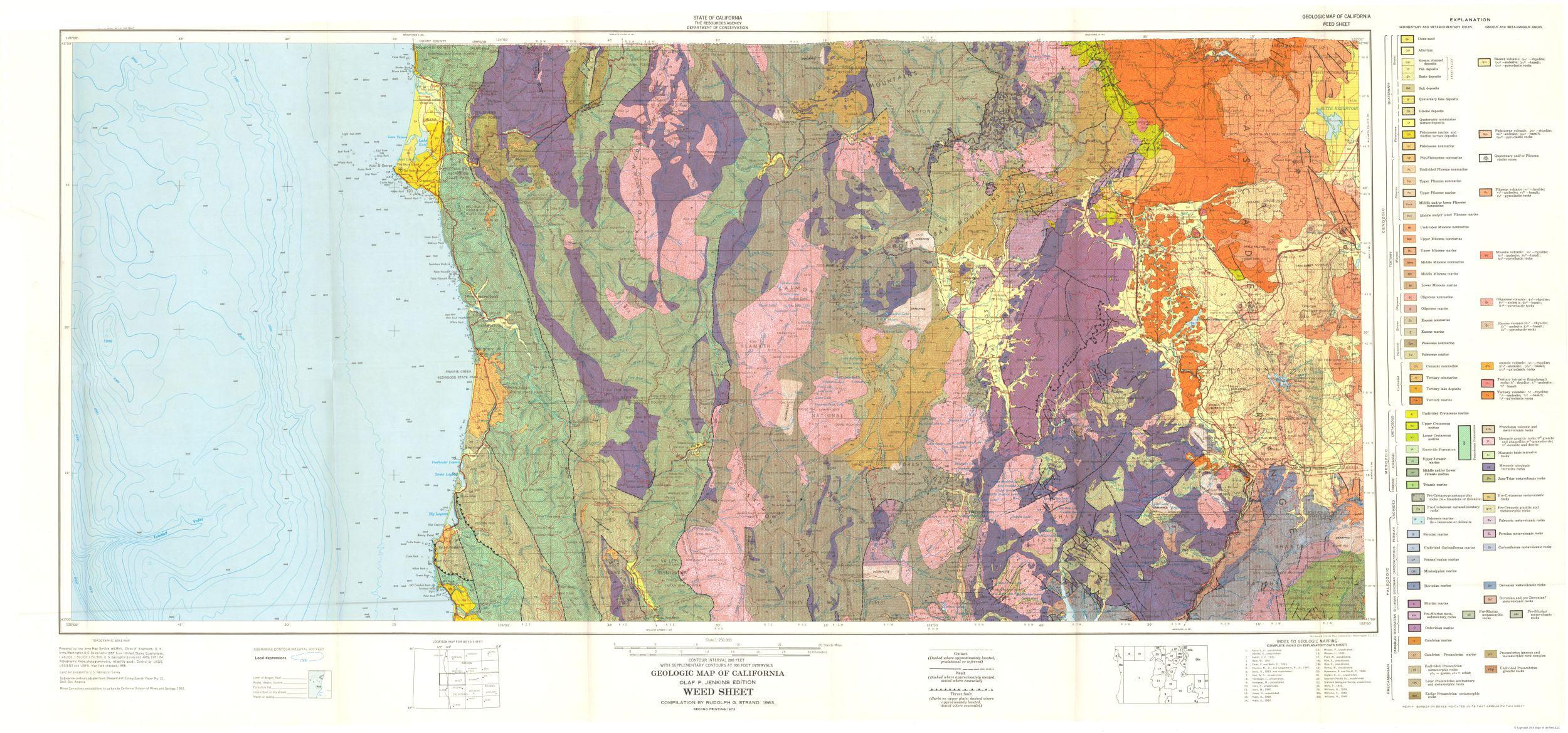 Mining Map - Weed California Sheet - CA Mines 1957 - 49 18 x 23