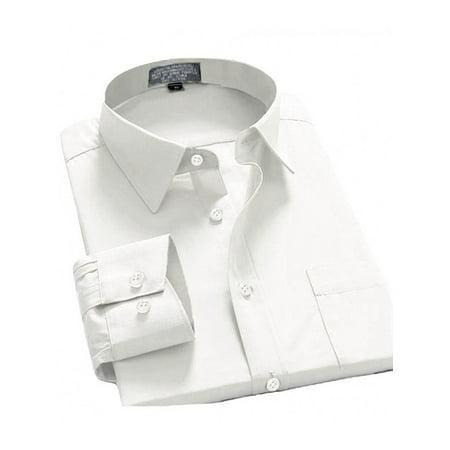 Regular Fit Tee - Men's Long Sleeve Regular Fit Point Collar Dress Shirt