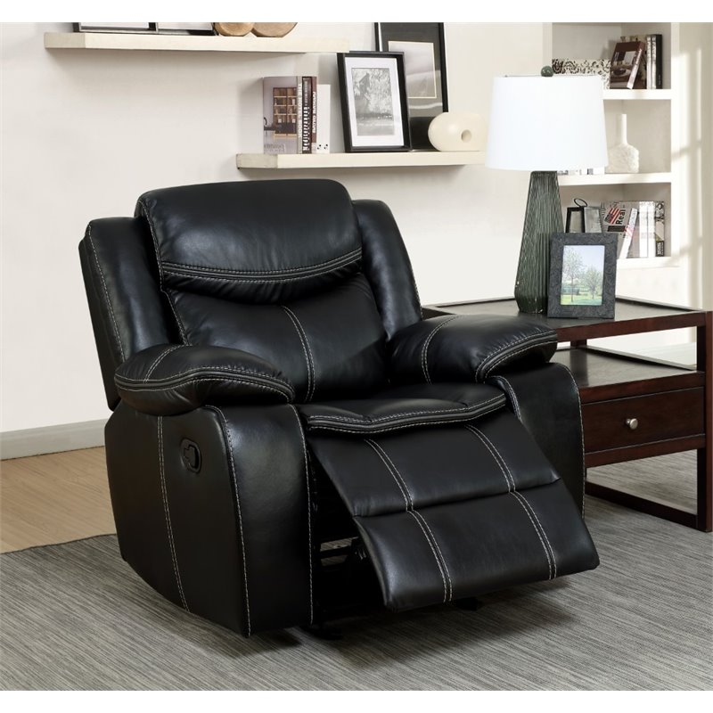 Furniture of America Monica Recliner Chair in Black