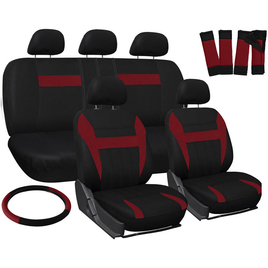 Oxgord 17-Piece Set Flat Cloth Mesh/Auto Seat Covers Set, Airbag Compatible, Front Low Back Buckets, 50/50 or 60/40 Rear Split Bench, Universal Fit for Car, Truck, Suv, or Van, Red