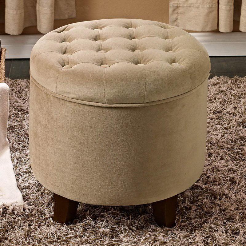 Velvet Tufted Round Ottoman with Storage