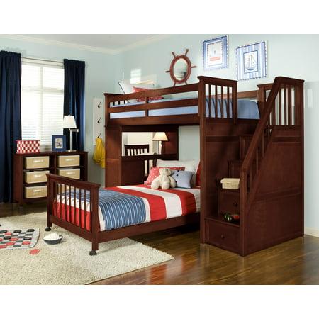 School Twin Stair Loft Desk End Full Lower Bed Cherry