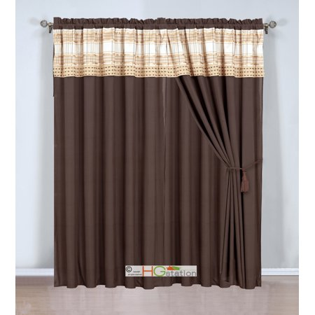 4-Pc Plaid Striped Embroidery Curtain Set Valance Drape Sheer Liner Beige Champagne Gold Taupe