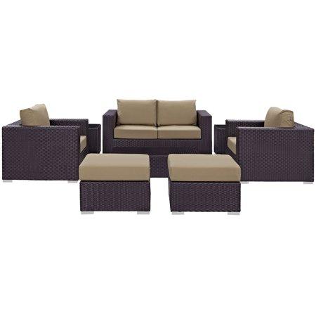 Modway Convene 8 Piece Outdoor Patio Sofa Set, Multiple (Coach Turquoise Glasses)