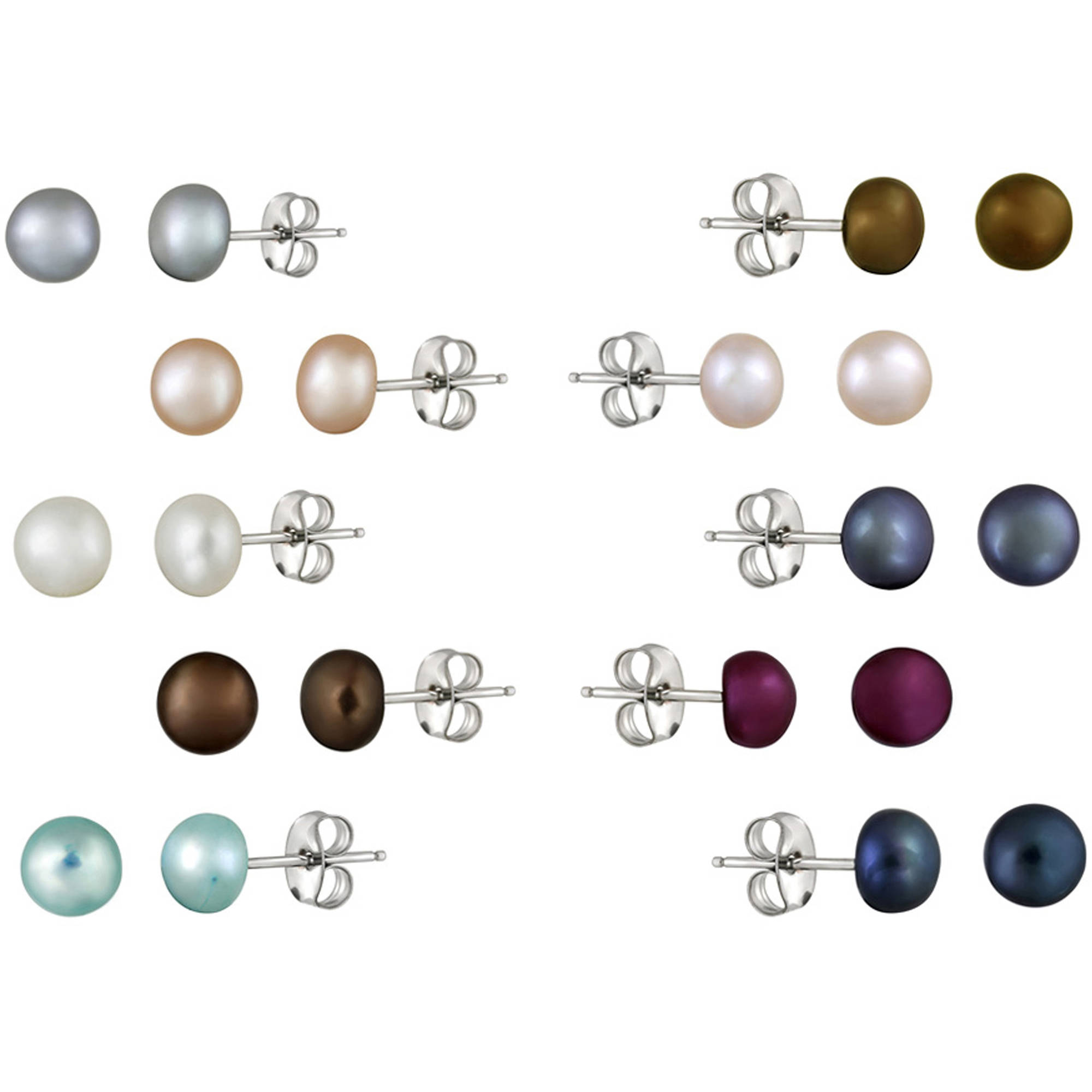 Glitzy Rocks 5 5mm Freshwater Cultured Pearl Sterling Silver Multi Color Stud Earrings Set Of 10