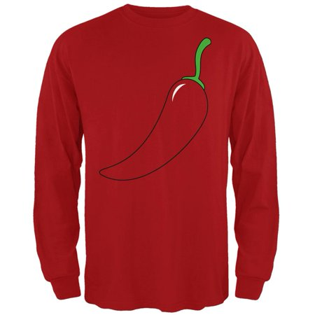 Halloween Chili Pepper Costume of Cinco de Mayo Mens Long Sleeve T Shirt (Mayan Costume)