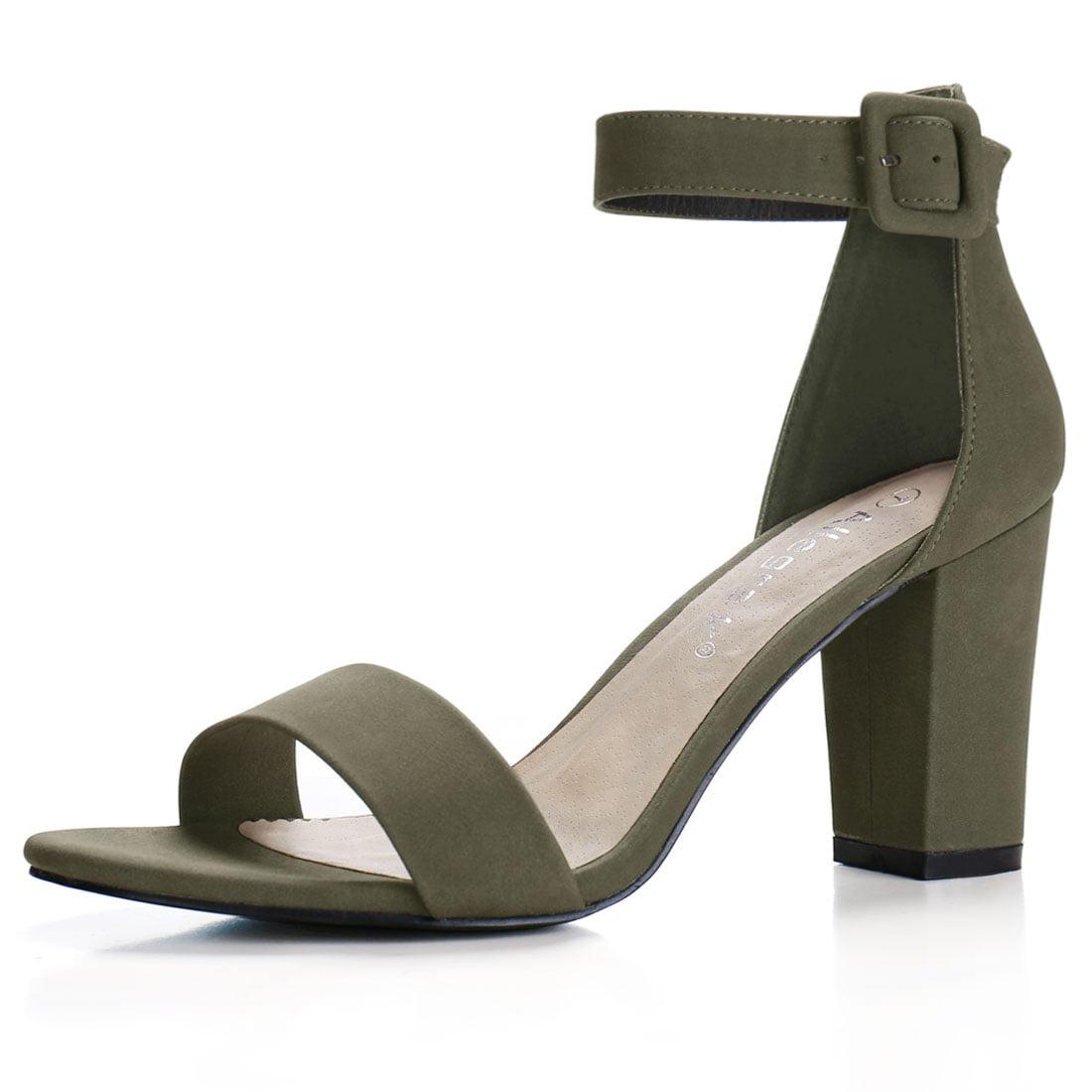 aff2d748f8a2 Allegra K Women s Open Toe Chunky High Heel Ankle Strap Sandals Camel US 7.5