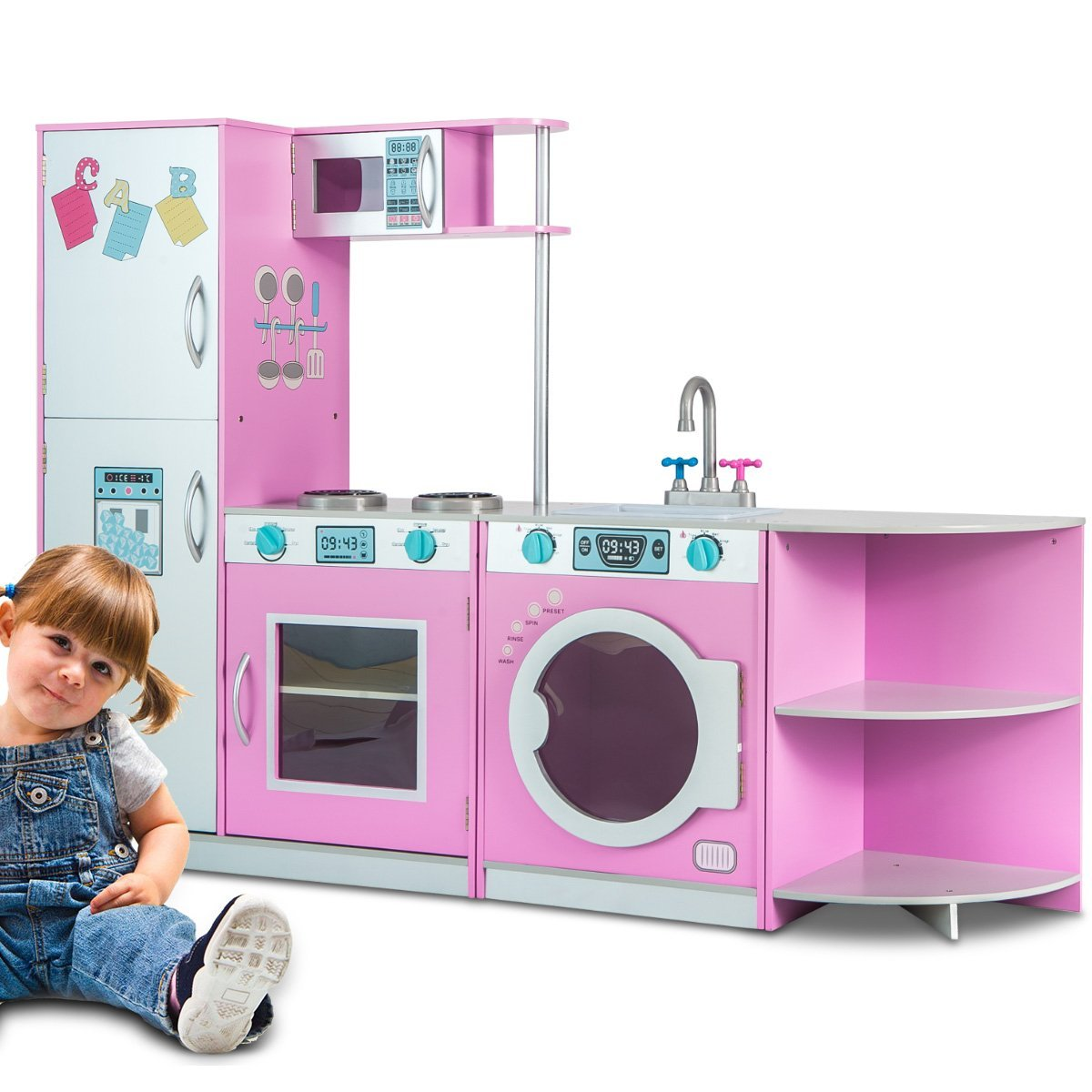 Merax Deluxe Kitchen PlaySet Role PlaySet For Kids, Free Combination Style (Pink) by Merax