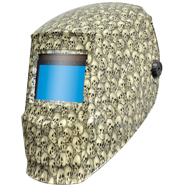 Antra™ Solar Power Auto Darkening Welding Helmet with X60S Shade 4/5-9/9-13 for TIG MIG MMA Plasma,Slim Lens Mini Skull