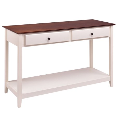 Costway Wood Console Sofa Table Accent Stand with Drawer and Shelf Entryway Living