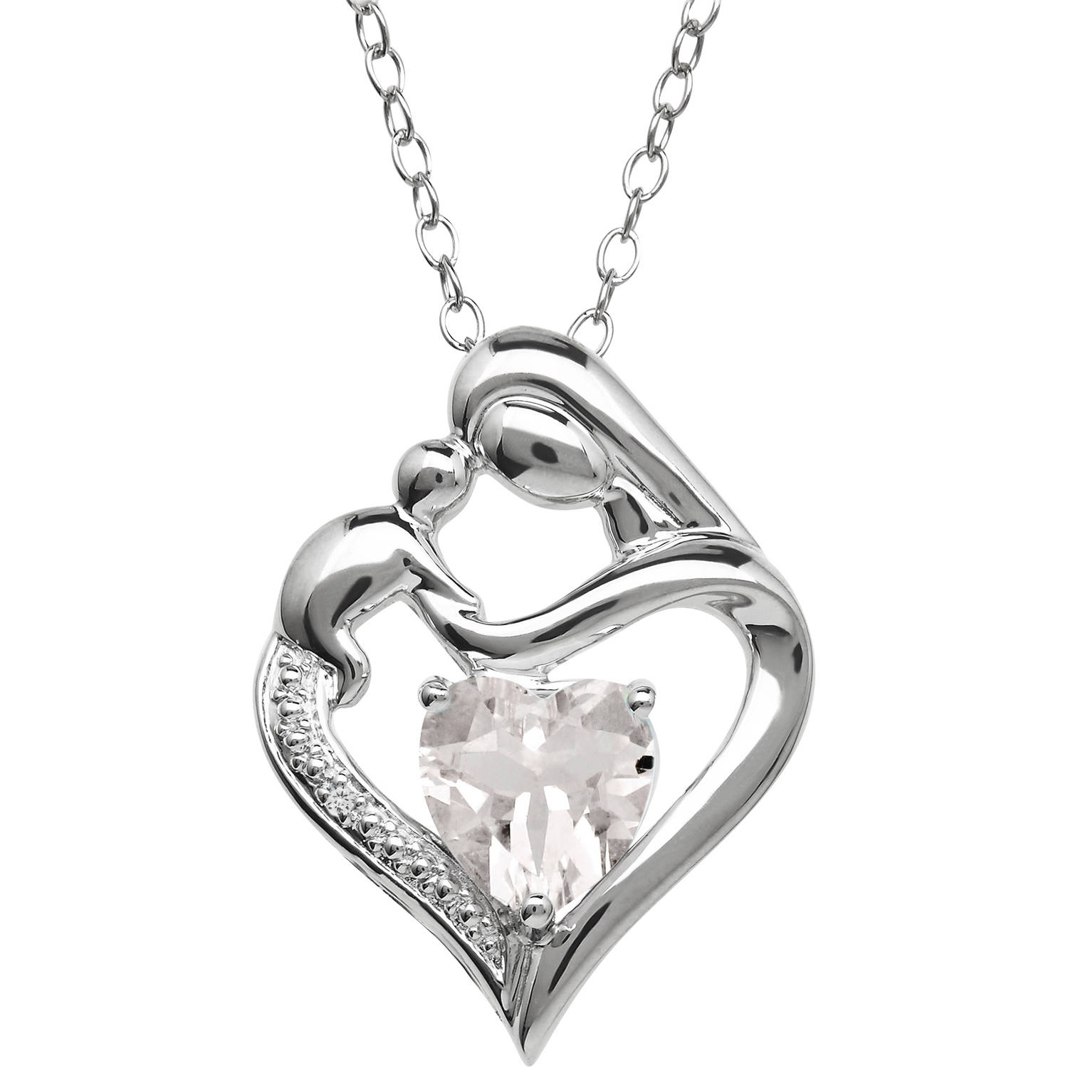Mother and Child White Topaz and Diamond Accent Pendant in Sterling Silver, 18""