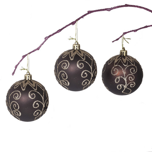 Perfect Holiday 2.75'' Shatterproof Handpainted Flower on Coffee Brown Christmas Ornament Ball (Set of 3)