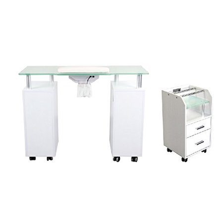 Manicure Table GLASS GLOW WHITE Salon Manicure Nail Table & Trolley ...