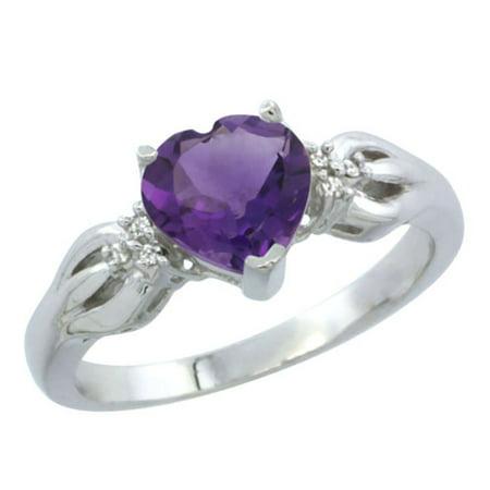 White Gold Genuine Amethyst Ring - 10K White Gold Genuine Amethyst Ring Heart-shape 7x7mm Diamond Accent size 5