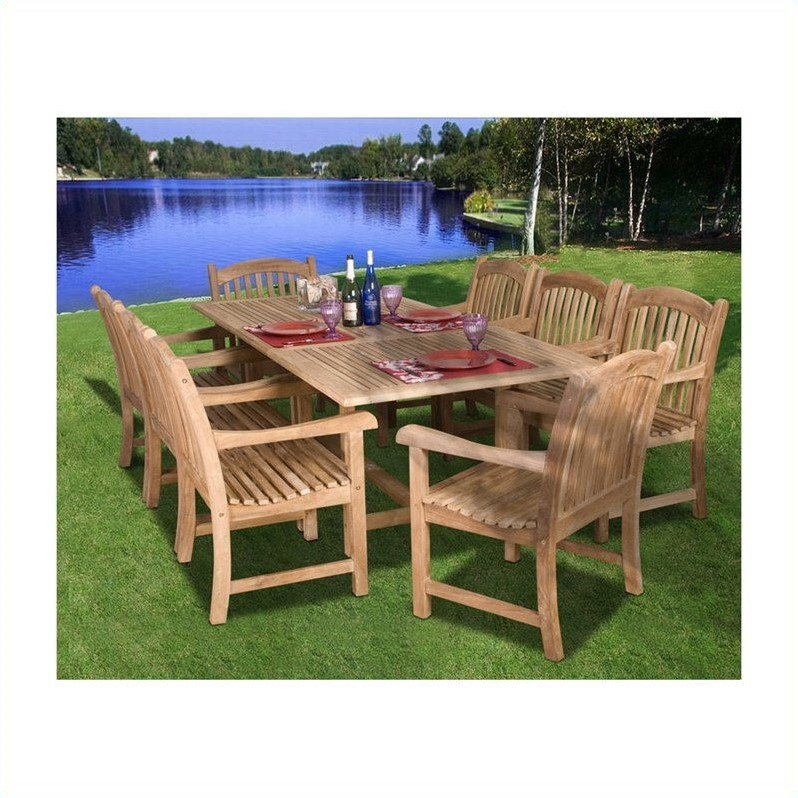 International Home Amazonia 9 Piece Wood Patio Dining Room Set in Teak by International Home Miami Corp