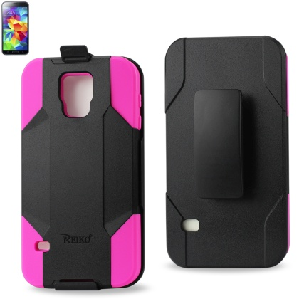 REIKO SAMSUNG GALAXY S5 HYBRID HEAVY DUTY HOLSTER COMBO CASE IN HOT PINK BLACK