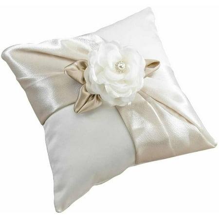 Lillian Rose Taupe Rose Ring Bearer Pillow