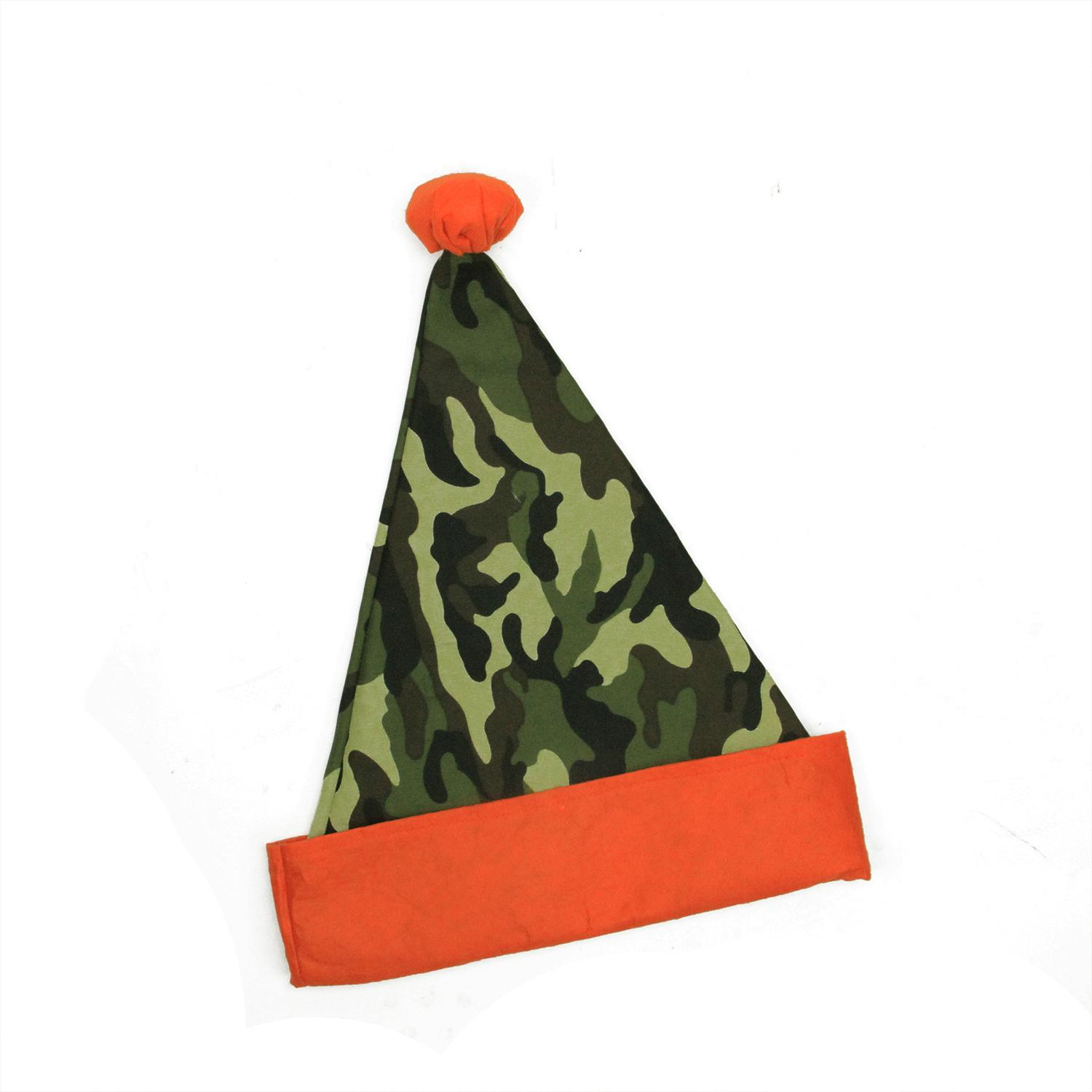 """15"""" Green Camouflage Christmas Santa Hat with Pom-Pom - Adult Size"""