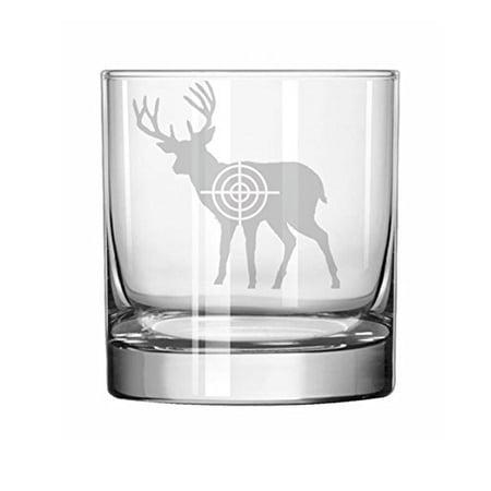 11 oz Rocks Whiskey Highball Glass Deer With Bullseye Hunting