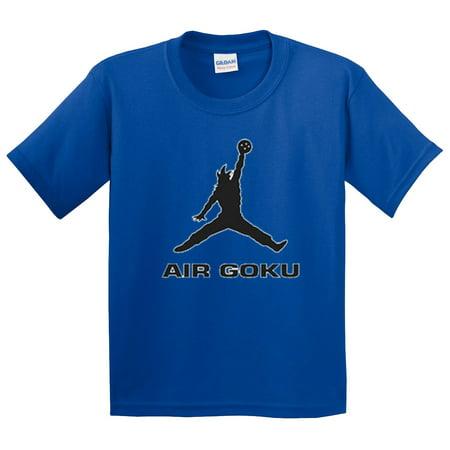 Trendy USA 629 - Youth T-Shirt Air Goku DBZ Dragon Ball Z Jordan Parody Small Royal Blue