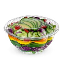 Comfy Package [50 Sets] 32 oz. Plastic Salad Bowls To-Go With Airtight Lids, Salad Containers