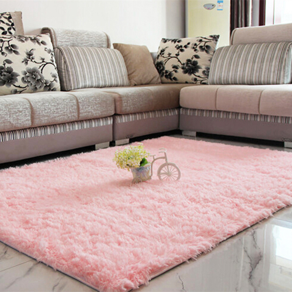 Modern Soft Fluffy Floor Rug Shag Shaggy Area Rug Bedroom Dining Room  Carpet Yoga Mat - 6 Colors
