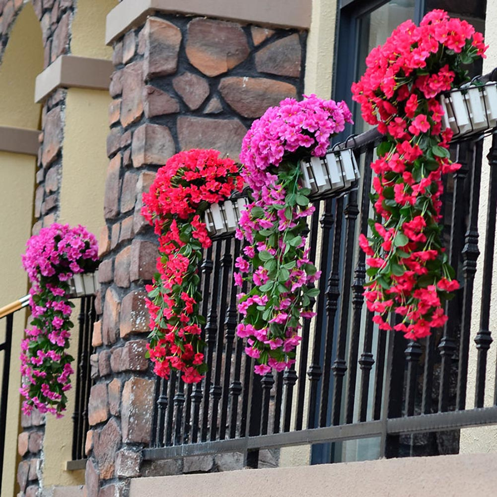 Girl12Queen 1Bunch Hanging Wall Artificial Violet Orchid Flower Rattan Plant Basket Decor