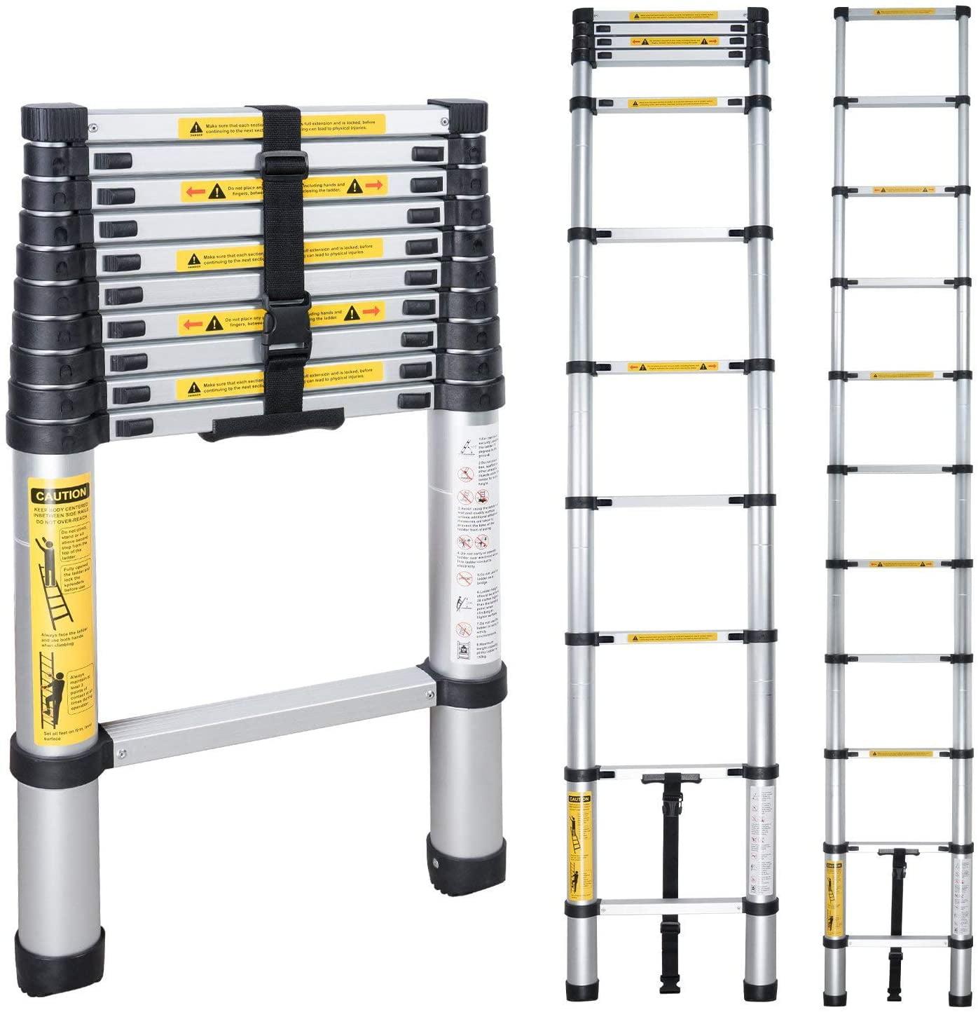 Folding Portable Extension Ladder 10.5 FT Aluminum Stretchable Ladder