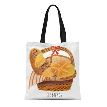 KDAGR Canvas Tote Bag Watercolor Bakery the Breads Cuisine Breakfast Baguette France Eat Reusable Handbag Shoulder Grocery Shopping Bags