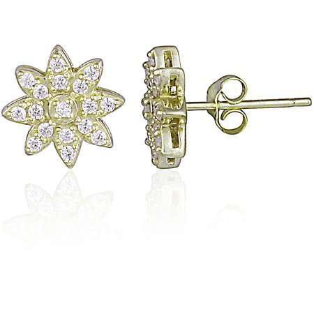 CZ Yellow Gold Flashed Sterling Silver Flower Stud (Cubic Zirconia Flower Earrings)