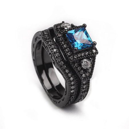 Hailey Black and Blue Engagement Bridal Wedding Band Ring Set Ginger Lyne Collection