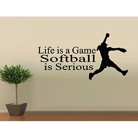 Decal ~ Life is Game, Softball is Serious ~ WALL DECAL, HOME DECOR 13