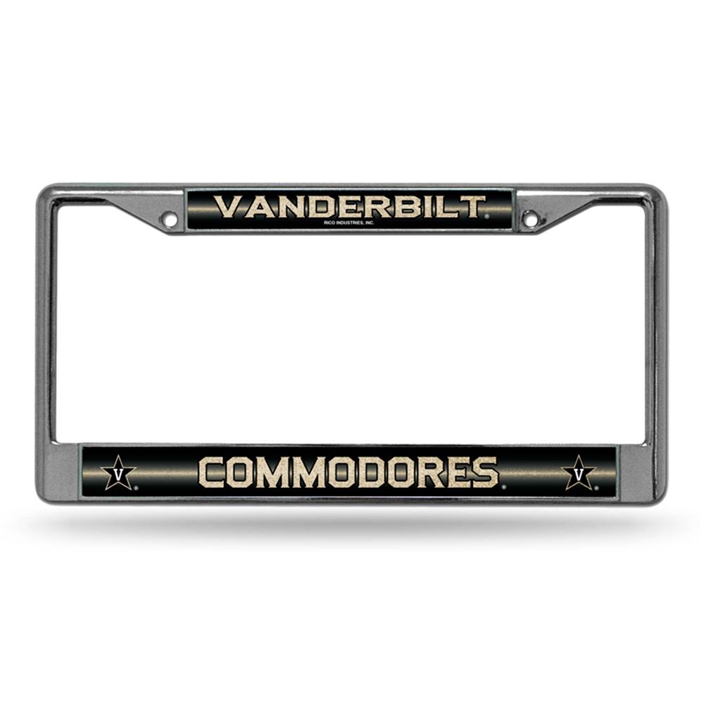 Vanderbilt Commodores NCAA Bling Glitter Chrome License Plate Frame