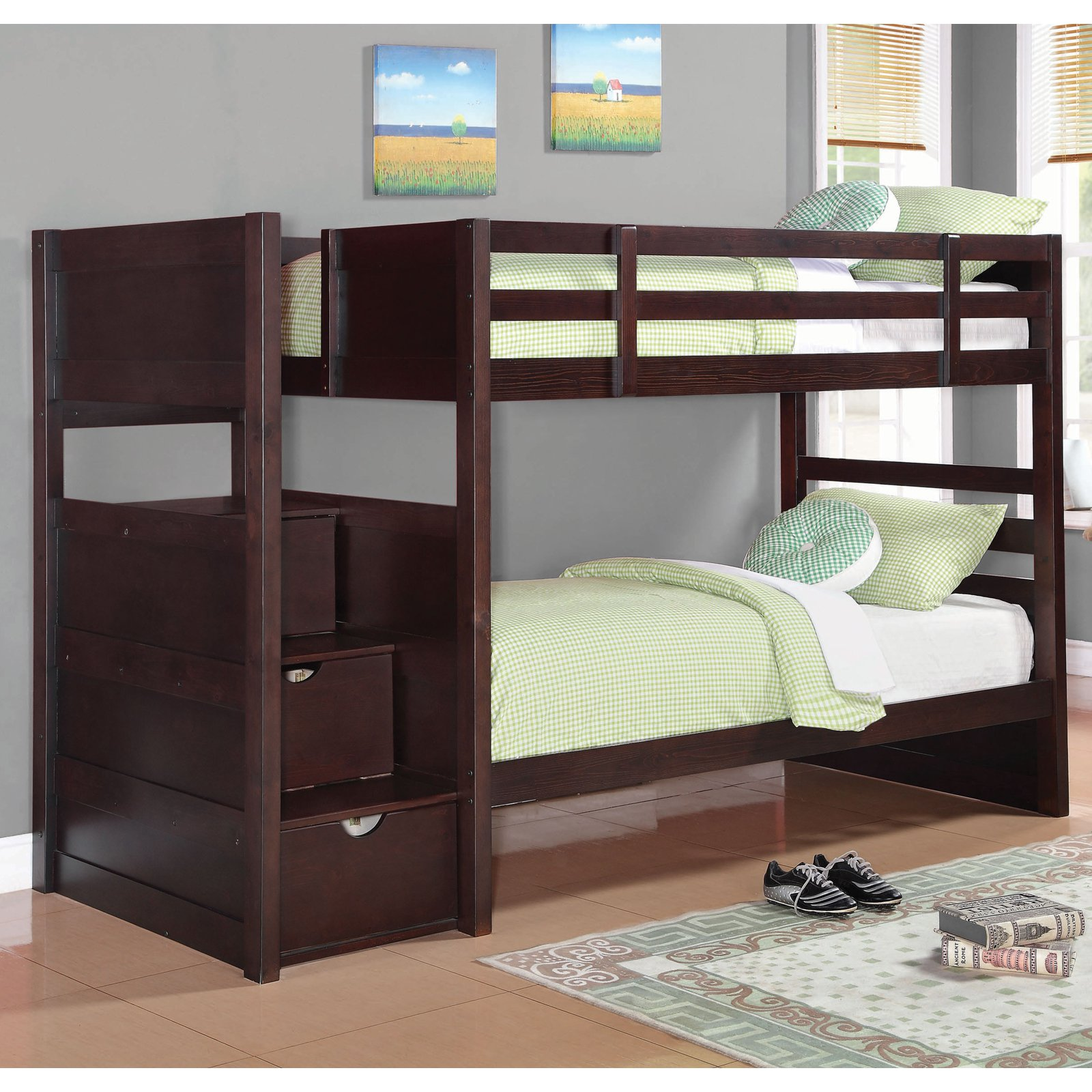 Coaster Furniture Elliott Twin Bunk Bed With Staircase Drawers   Cappuccino