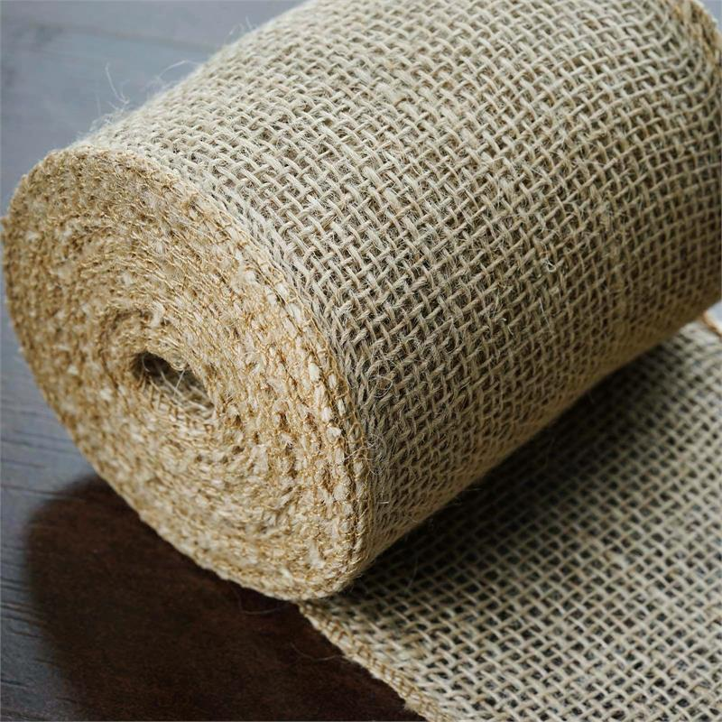 BalsaCircle 5 inch x 10 yards Burlap Fabric Roll - Natural Brown