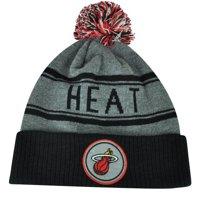 e14f32d3d67 Product Image NBA Adidas Miami Heat Cuffed Pom Pom Striped Knit Beanie Hat  Toque Gray Winter
