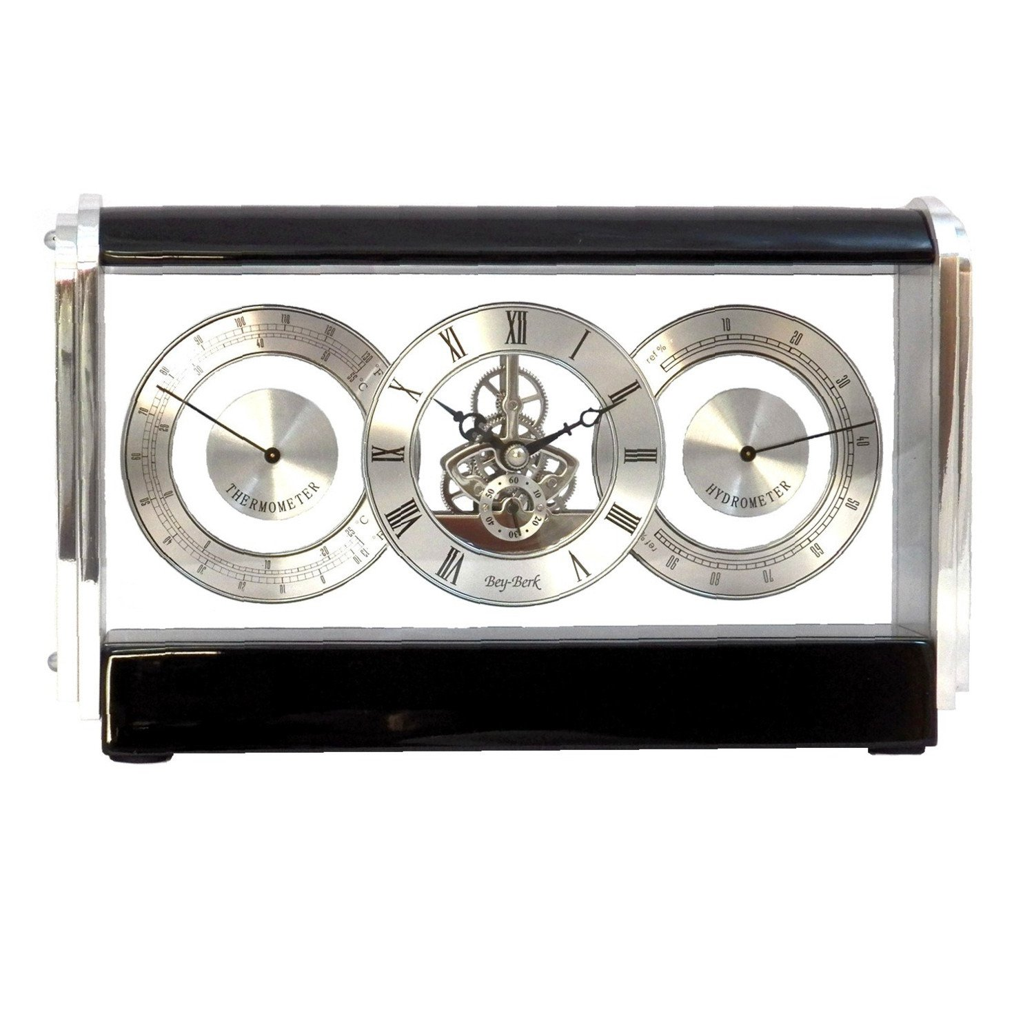 Bey-Berk International Skelton Movement Clock, Stainless and Lacquered Black Wood T.P.