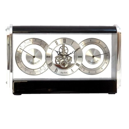 Black Lacquered Wood (Bey-Berk International Skelton Movement Clock, Stainless and Lacquered Black Wood)