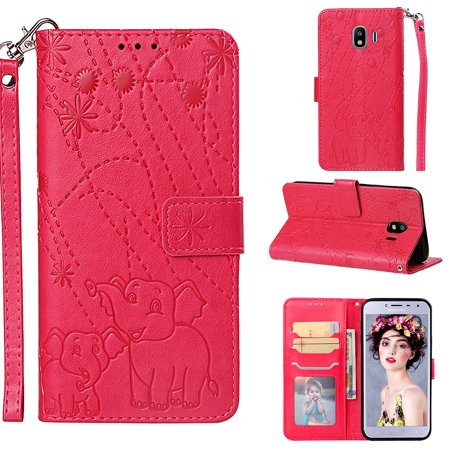 J4 2018 Case, Galaxy J4 2018 Case, Allytech PU Leather Folio Flip Elephant Emboss Hand Strape Magnetic Clasp Anti-Scratch Protective Cards Holder Wallet Case Cover for Samsung Galaxy J4 2018, (Flip Clasp)