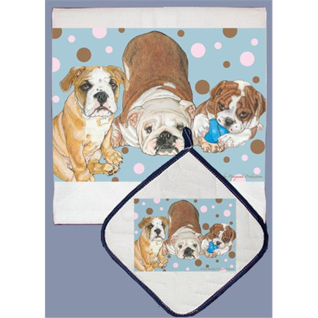 Pipsqueak Productions DP536 Dish Towel and Pot Holder Set - Bull Dog