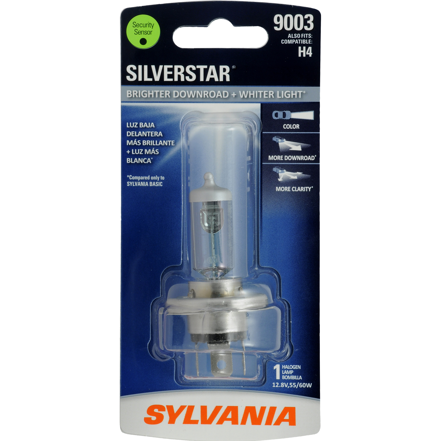 SYLVANIA 9003 SilverStar Halogen Headlight Bulb, Pack of 1