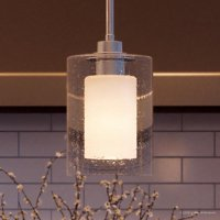 """Urban Ambiance Luxury Modern Pendant, Size: 10""""H x 5-7/8""""W, with Farmhouse Style Elements, Polished Chrome Finish and Etched White Inner, Seeded Glass Outer Shade, UHP2260"""