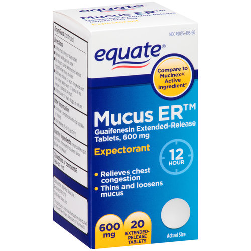 Equate Mucus-ER Expectorant Extended Release Tablets, 600 mg, 20 Ct