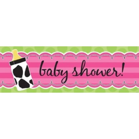 Giant Baby Shower Banner, Baby Girl Cow Print, Baby cow print themed giant party banner By Creative Converting - Girl Themed Parties
