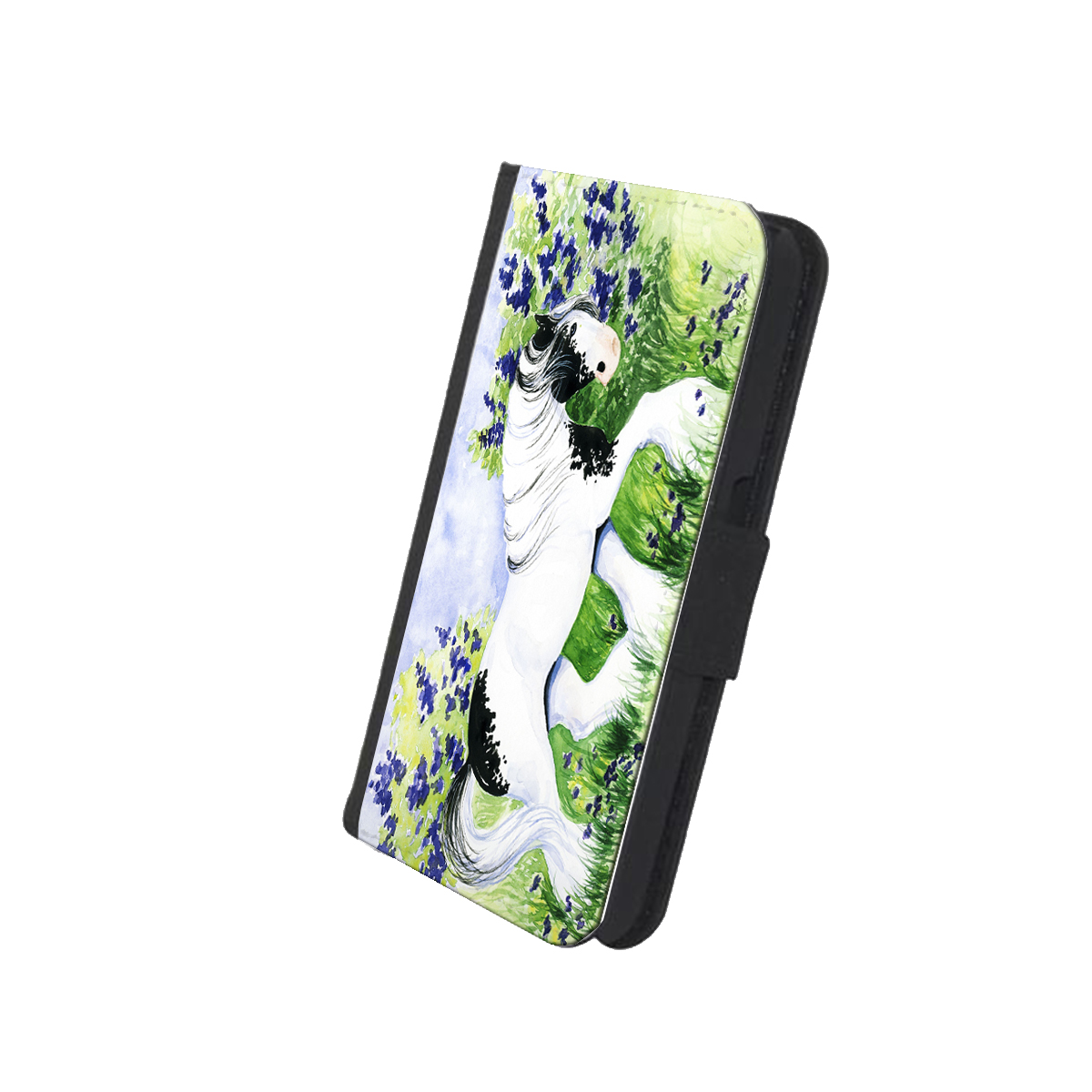 KuzmarK iPhone 7 Wallet Case - Piebald Gypsy Cob with Lilacs and Violets Horse Art by Denise Every™