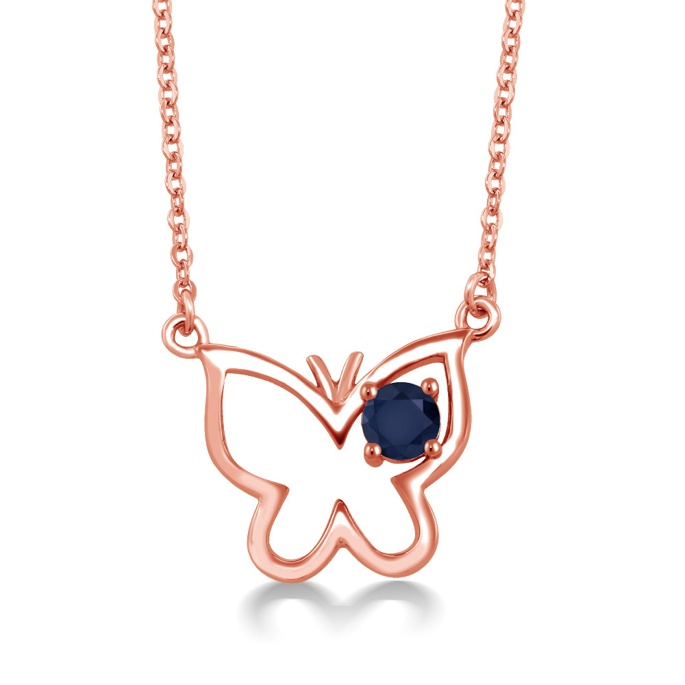 0.36 Ct Round Blue Sapphire 18K Rose Gold Plated Silver Necklace by
